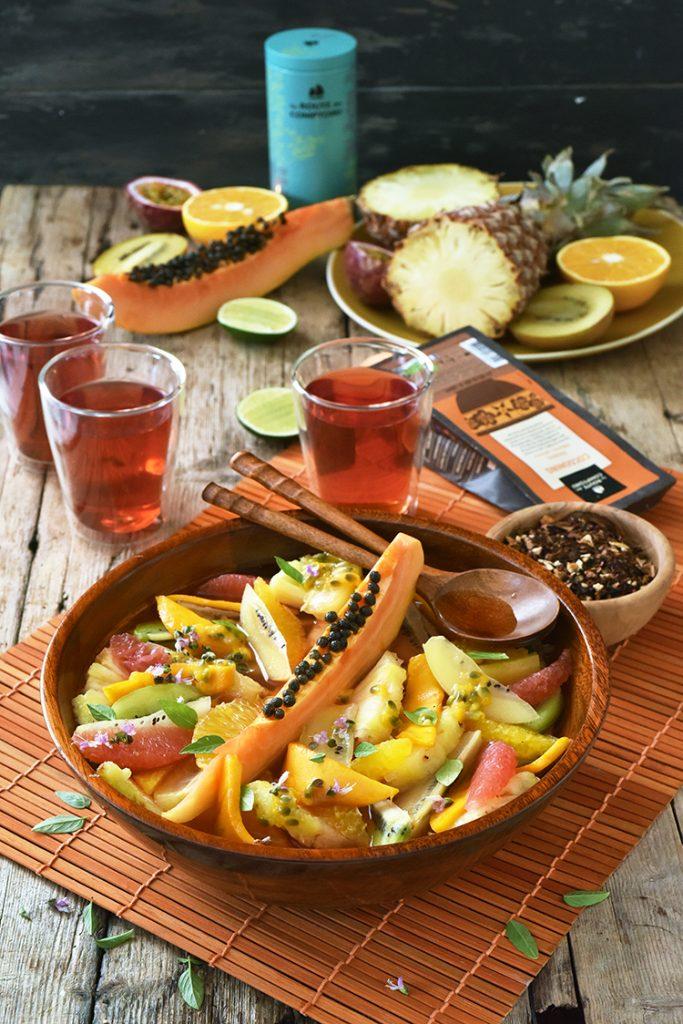 Salade de fruits au sirop de Rooïbos pour un goûter plein d'énergie...